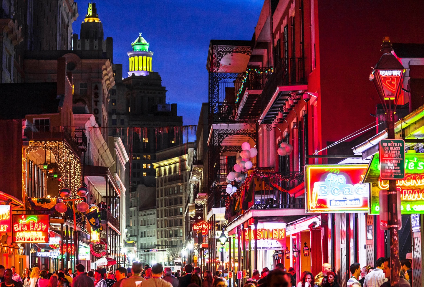 The lights of the French Quarter of New Orleans at night