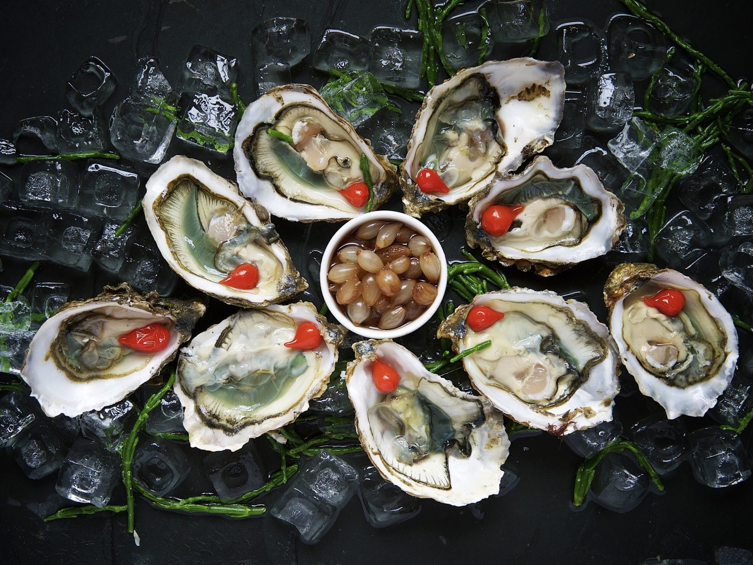 Oysters with a dip